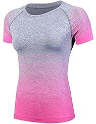La Sra secado rápido de la camiseta de la yoga de ejecutar la capacitación de modelos femeninos vestido de manga corta de 5013 , pink , m