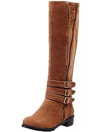 Femme chaussures botte doublé chaud suède bottes Beige 40