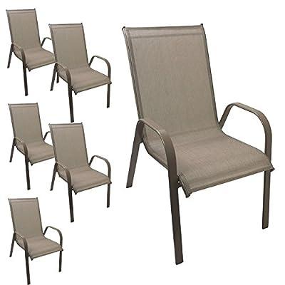 6 Stück Gartenstuhl stapelbar Gartensessel Stapelstuhl Stapelsessel Stahlgestell pulverbeschichtet mit Textilenbespannung Gartenmöbel Terrassenmöbel Balkonmöbel Champagner