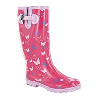 Ladies Spot On Butterfly Print Wellington Boots X1160