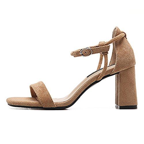 Frauen Klassiker Knöchel-Riemchen Sandalen flache High Mid Block Ferse Sommer Zehenfrei Schuhe Khaki
