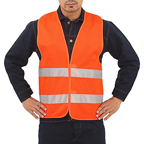 BulzEU Gilet de Securité Orange Fluo Bande Réfléchissant Haute Visibilité pour Hommes Femmes Moto Vélo Nettoyant Travail de Nuit (1pack)