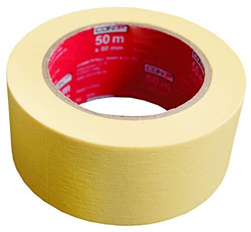 Werkzeyt Kreppband 50 m x 50 mm - Extra breit - Für einfache Abdeck- & Malerarbeiten - Universell einsetzbar - Rückstandfrei ablösbar / Abklebeband / Malerkrepp / Feinkreppband / B22298