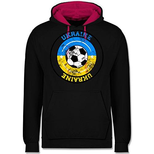 Fußball - Ukraine Kreis & Fußball Vintage - Kontrast Hoodie Schwarz/Fuchsia