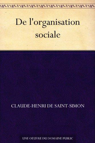 Couverture du livre De l'organisation sociale