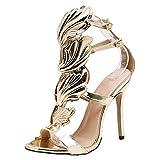 Dorical Damen Pumps Sandalen mit Metall Flügel/Damenschuhe Sexy Slingback Extreme High Heels Sandalen mit Schnalle Öffnen Zehe Stiletto Schuhe Glitzer Elegant Party-Schuhe(Gold,40 EU)
