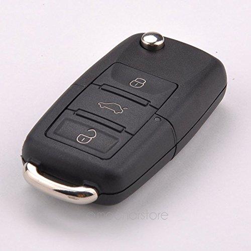 Auto Klappschlüssel Shell, Tookie Fernbedienung Auto Flip Schlüssel Shell Fall für Volkswagen VW Jetta Golf Passat Polo Bora 3Tasten Klappschlüssel Ersatz, schwarz (Jetta Remote-schlüssel)