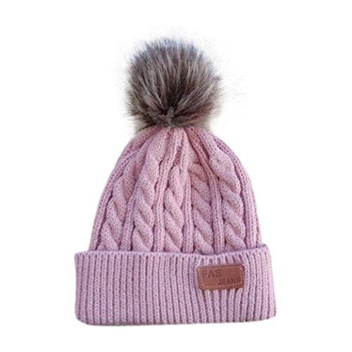 Xshuai Für 2-8 Jahre Baby Beanie Für Jungen Mädchen Kappe Baumwolle Brief Gestrickte Ball Warme Kinder Hüte (Rosenrot) (Carters 2 Mädchen Stück)