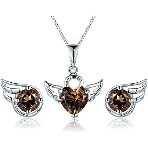 Aischalove Ali di Natural Smoky Quartz angelo monili di 925 della collana del pendente orecchino d'argento sterlina borchie per le donne
