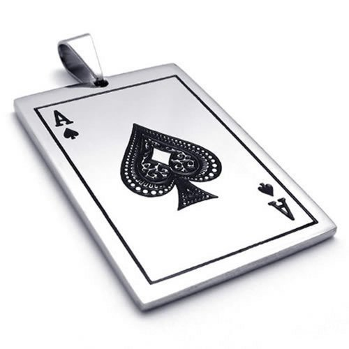 KONOV Schmuck Edelstahl Poker Karte Pik A Anhänger mit 50cm Kette, Halskette für Herren Damen, Schwarz Silber