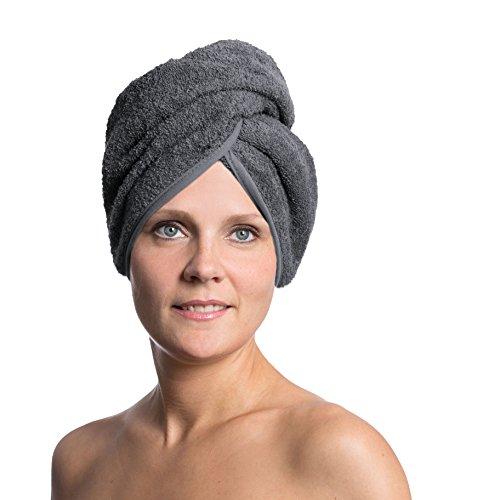 Zollner praktischer Haarturban/Haartrockentuch/Handtuch für die Haare mit Knopfverschluss im Nacken, 100% Baumwolle, grau, in weiteren Farben erhältlich, Serie Donna