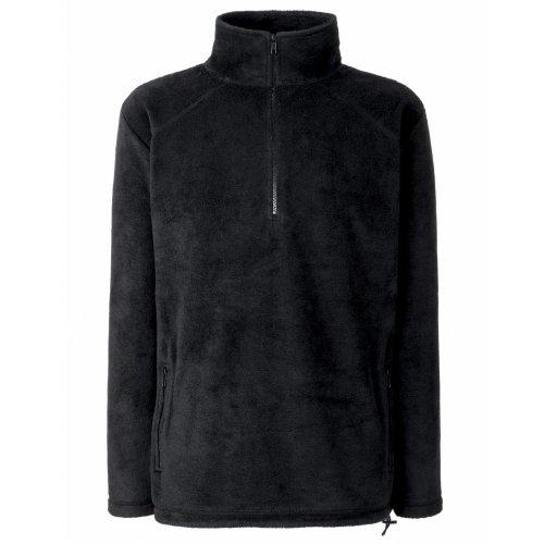 Schwarze Fleece-sweatshirt (Fruit Of The Loom Fleecepullover mit Reißverschluss M,Schwarz)
