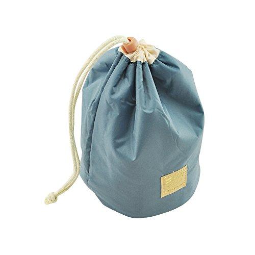 Denshine Femme Lady Pouch Seau en forme de tonneau Cosmétique Lot de sac de maquillage trousse de voyage Sac à main bleu bleu