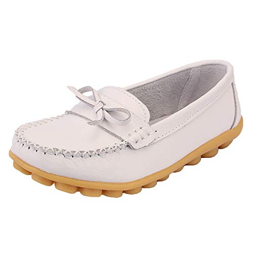 zhenghewyh Damen Mokassins Bootsschuhe Leder Loafers Flache Fahrschuhe Sommer Casual Hausschuhe Leichte Erbsenschuhe für Mädchen (Weiß 36) Casual Hausschuhe