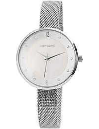 60d3a18f7142 Just Watch Damenuhr mit Edelstahlmeshband Hakenverschluss 3Bar Quarz Rund  19cm Bandlänge (Silberfarbig)