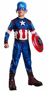 Avengers - Disfraz de Capitán America Age of Ultron, con Escudo, para niños, Talla L (Rubie
