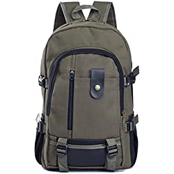 Army Green : Hrph Canvas Men's Backpacks Outdoor Men Travel Bags Vintage Style Design School Casual Backpack