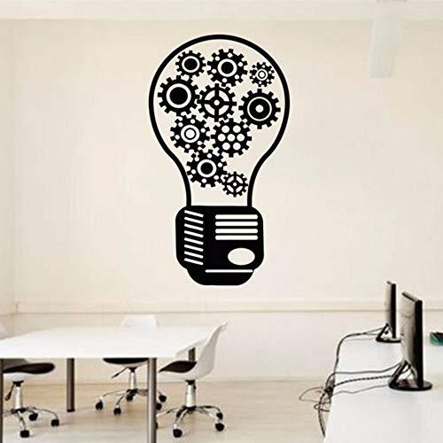 Pbldb 32X57 Cm Glühbirne Büro Wandtattoo-Team Arbeit Getriebe Büro Vinyl Wand Dekor Idee Inspiration Wandaufkleber