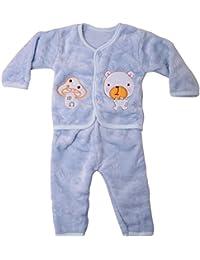 Icable Baby Boys Baby Girls Infants Kids Shearing Velvet Full Sleeves Winter Wear Night Suit