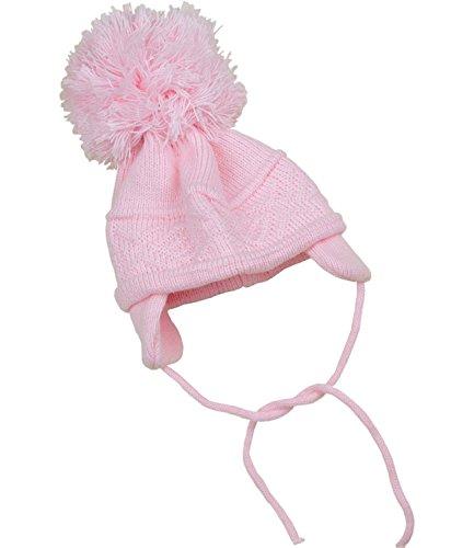 BabyPrem Bébé Chapeau Bonnet Pom Pom Tricot Croisé Hiver Vêtements Filles 0-3 Mois Rose