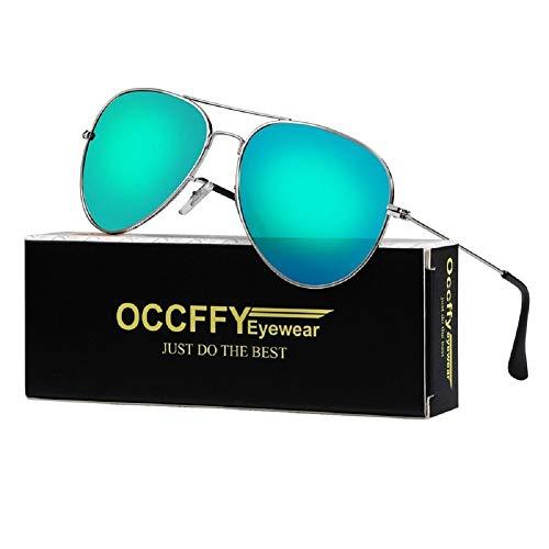 Occffy Pilotenbrille Sonnenbrille für Herren und Damen UV400 Schutz Metall Rahmen Oc7802 (Silberrahmen mit Grün Blau Spiegellinse)