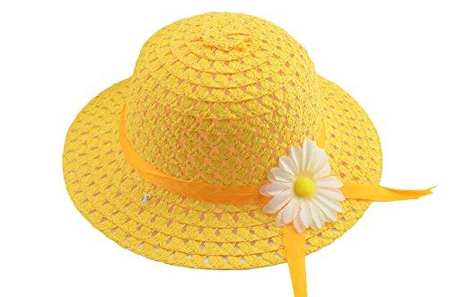 Mackur Enfants Bébé Chapeau de paille Chapeau de soleil été avec bord de fleur Anti-soleil Plage Chapeau Chapeau pour Été Plage Loisirs Voyage Chapeau size 50-52cm (jaune)