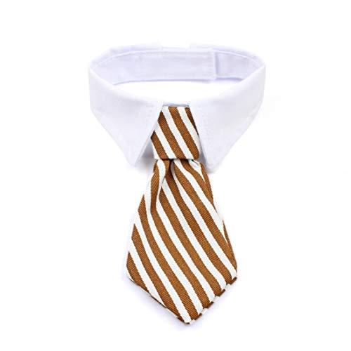 WEATLY Haustier Hund Katze Welpen Twill Baumwolle Gestreifte Verstellbare Bögen Krawatten Krawatten Mit Weißem Kragen Für Kleine Mittelgroße Hunde Katzen (Color : Brown/White, Size : Adjustable)