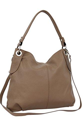 AMBRA Moda Damen echt Ledertasche Handtasche Schultertasche Beutel Shopper Umhängtasche GL012 (Sand)