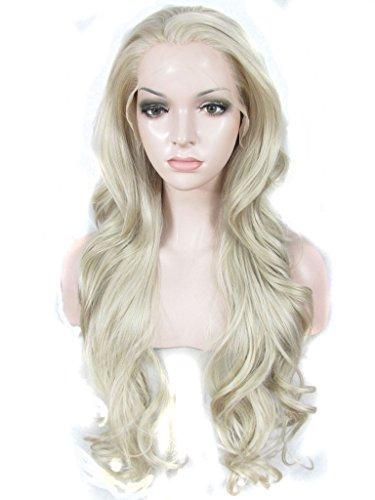 Imstyle Blond cendré Gris Perruque longue Loose ondulée Texture synthétique de cosplay perruque Lace Front Drag Queen Perruques
