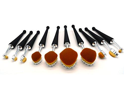 AFWAN 10pcs Brosse à dents Design Brosses de maquillage en forme de poignée pour la Fondation Eyeyrow Eyeliner Blush Cosmétique Correcteur Pinceaux de maquillage avec pochette