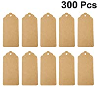 NUOBESTY 300PCS Kraft Paper Gift Tags Blank Hang Tags Gift Wrapping Tags DIY Hanging Ornament for Home Party Wedding Engagement Anniversary Propose Marriage without Rope(Buff)