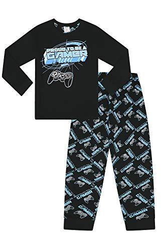 Pijama Largo para niños con Texto en inglés Proud to Be A Gamer, Color Negro y Azul Azul Azul 9-10 Años