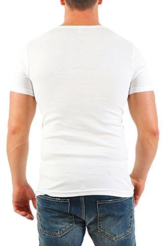 2er Pack Herren T-Shirt mit V-Ausschnitt Nr. 446/1500 ( Grau-Weiß / XXL ) - 7