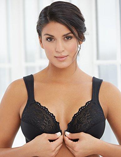 Glamorise Damen Bügelloser BH Eleganter Bügel mit Vorderverschluss Schwarz (Schwarz 2)