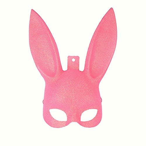 Hilai 1PCS Glitzernde Masquerade Häschen-Gesichtsmaske Halloween-Kostüm-Partei-Abschlussball-Maske für Frauen Männer Cosplay (Pink) (Top Schablone Halloween Kostüme)