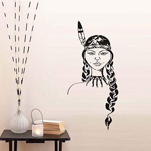 Native AmericanGirls Vinyl Wandaufkleber Kunst Wandbilder Abnehmbare Selbstklebende Tapete Wohnzimmer Aufkleber Wohnkultur 43x92 cm