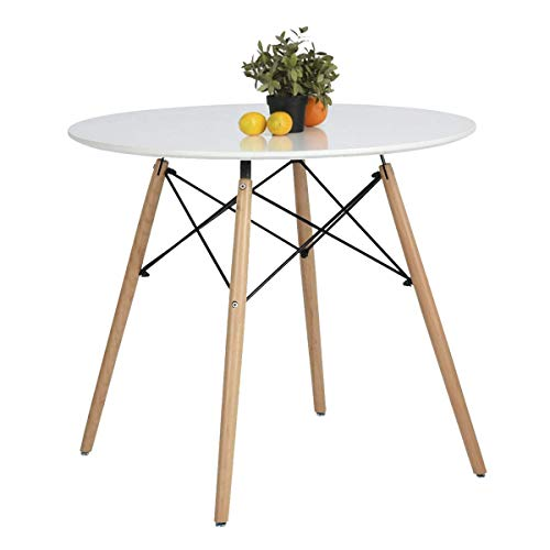 Table Scandinave pour Salle à Manger et Salon Coavas Design Surface Large avec Pieds en Vrai Bois Table Ronde, Blanc