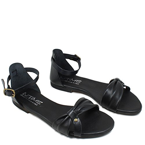 In Time Sandali Bassi Flat Donna Mare Vera Pelle Nero 0424 Made in Italy