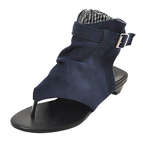 Sommer Damen Sandalen, römische Schuhe Open-Toe Thong Flache Sandalen Casual Outdoor Training Schuhe Klippzehe Reißverschluss Sandale Ankle Boots für Frauen Plus Größe