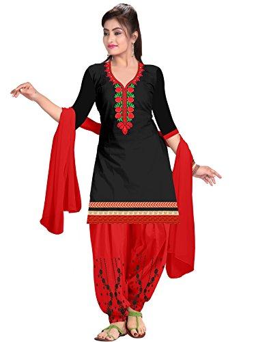 Dharmi Fashion Women's Cotton Dress Material (Dress_2018_Free Size) (Black)