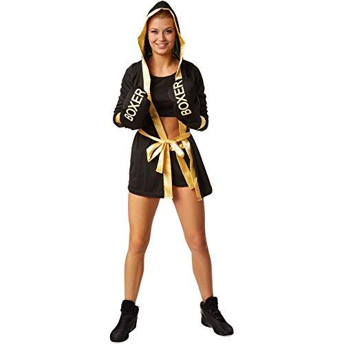 Toy Box Kostüm - dressforfun Frauenkostüm Boxerkostüm mit Short, Top, Mantel mit Kapuze, Gürtel und Boxhandschuhen (M | Gold | no. 301820)
