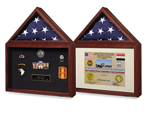 American Capitol Flag & Zertifikat Vitrine Shadow Box für 3X5 USA Flag & 8.5X11 Official Paper Dokument oder Medaillen Showcase für die Regierung Navy Air Force Coast Marine Corps ()