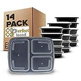 Lot de 14 Boîtes à Repas 3 Compartiments avec Couvercles Hermétiques Sans BPA - Compatible Micro-onde et Lave-vaisselle - Réutilisable, Transportable et Empilable