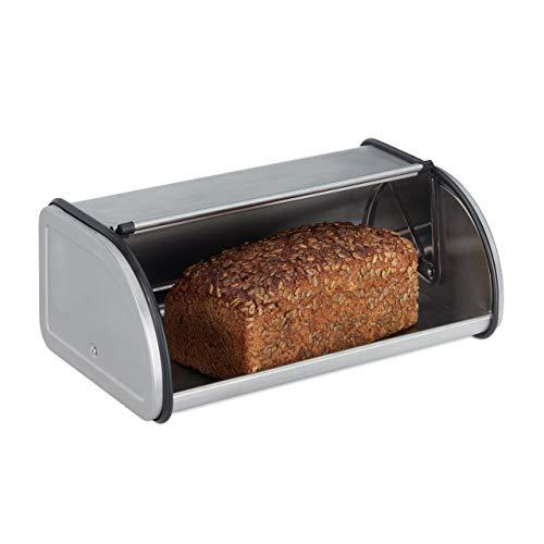 Relaxdays 10023832, Silber Brotkasten Edelstahl, Kleine Brotbox, Brot frisch halten, flach und Platzsparend, Leicht zu reinigen