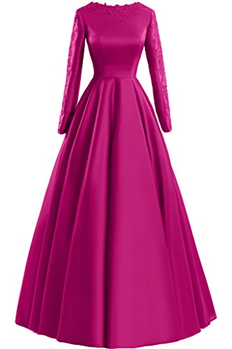 Sunvary pizzo A-line Scoop maniche lunghe, con scritta: Evening Dresses Party Gowns Fucsia