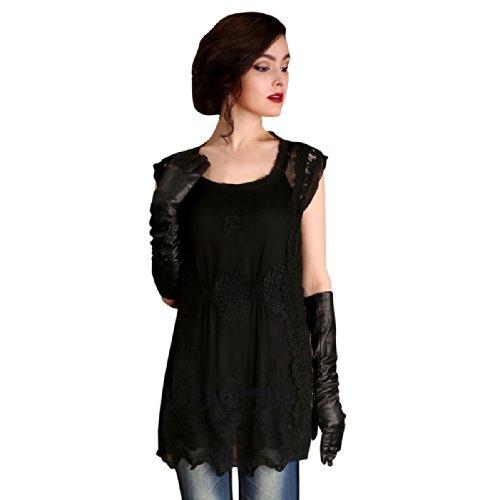 Artka Damen High-End Seide Stickerei Spitze Medium Stil Bluse Schwarz - Schwarz