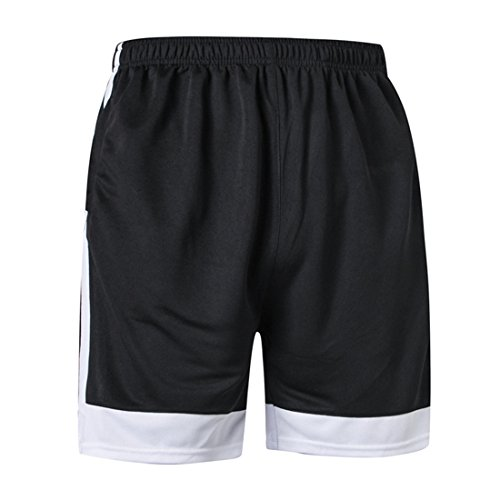 Herren Gym Performance Shorts Atmungsaktiv Schnell Trocknend Shorts Farbe Spleißen Shorts Für Fußball Laufen Basketball Wandern Weiß schwarz L=US M