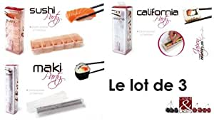 Kit cuisine asiatique - Lot de 3 moules à makis - sushis - california rolls