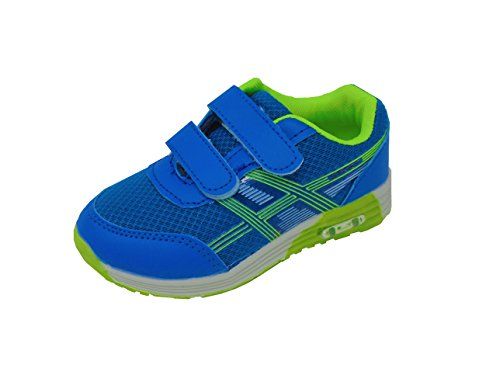 Carcassi Childrens Kids Boys Girls Sports Running Trainers PE Gym Shoes Casual Sneakers (13.5 Child UK, Blue/Green)