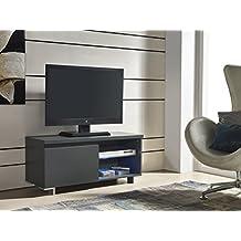 Mueble TV de 1 puerta en color Gris Antracita con LED